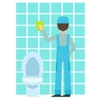 Man Washing Tiles In Bathroom Cleaning Service vector image