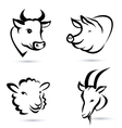 farm animals icons set vector image