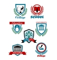 Heraldic emblems for school college university vector image vector image