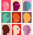 human heads 6 vector image vector image