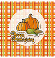 cartoon pumpkins corn and handwritten words happ vector image