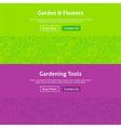 Garden and Flowers Line Art Web Banners Set vector image