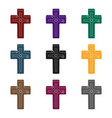 golden cross easter single icon in black style vector image