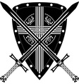 medieval shield and swords vector image