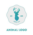 Polygonal hipster logo with head of deer in mint vector image