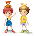 Two boys with their toys above their heads vector image vector image