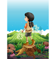 A girl standing above a stump vector image vector image