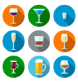 set of flat design alcohol glasses icons vector image