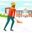 Woman shoveling and removing snow vector image vector image