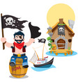a set of on the pirate theme a man sitting on a vector image