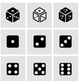 black dice icon set vector image