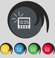 digital Alarm Clock icon sign Symbol on five vector image