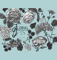monochrome vintage floral greeting card vector image