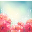 Shining flowers roses peonies background vector image