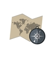 world map and compass icon vector image