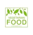 Vegan Natural Food Green Logo Design Template With vector image