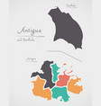 antigua and barbuda map with states vector image