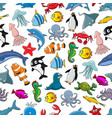 sea fishes animals cartoon seamless pattern vector image vector image