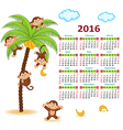 Calendar with monkeys on palm 2016 vector image