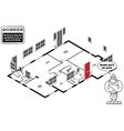 Isometric house floor plan vector image vector image