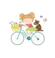 Cute beautiful girl in dress rides a bike vector image