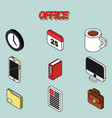 office flat outline isometric set vector image