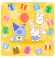 Happy birtday with cute animals and gifts vector image