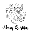 Greeting Card design with various xmas ornaments vector image vector image