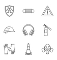 Construction ground icons set outline style vector image