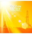 Oil rig silhouettes and orange sky vector image