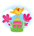 Singing Easter chick vector image vector image