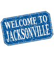 welcome to Jacksonville blue square grunge stamp vector image