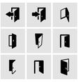 black door icon set vector image