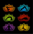 A set of yoga and meditation symbols vector image