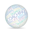 Coaching concept related words in sphere tag cloud vector image