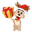 cute dog wearing santa claus hat and deer antlers vector image