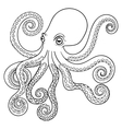 Hand drawn tribal Octopus animal totem for adult vector image