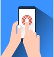 Hand holding and touching a smartphone Flat design vector image