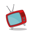 tv vintage red antenna graphic vector image