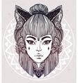 Japanese demon kitsune portrait vector image