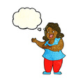 cartoon woman singing with thought bubble vector image
