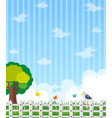 background design with garden and blue sky vector image