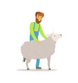 farmer man caring for his sheep farming and vector image