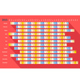 Red flat linear calendar 2015 with long shadow vector image
