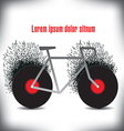 A funky bicycle made of records vector image vector image