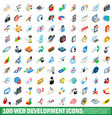 100 web development icons set isometric 3d style vector image