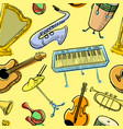 musical instruments doodle rseamless pattern vector image vector image