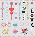 arrows with love set vector image vector image