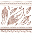 Indian mehndi style feathers set vector image