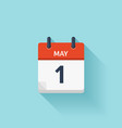 May 1  flat daily calendar icon Date and vector image
